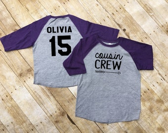 The Original Cousin Crew shirts. Personalized All Sizes NB- 3XL Cousin Tribe or Squad. 3/4 sleeve raglan shirt. Ships in 4-6 Business days!