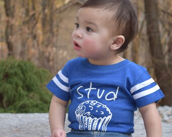 Stud Muffin. Stud Muffin one-piece. stud muffin infant bodysuit. Stud Muffin shirt. Foodie one-piece. Baby shower gift. Football bodysuit