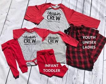 The Original Cousin Crew: Christmas Pajama sets | 6M to Unisex 2XL | Family Pajama Sets | Holiday Pajama sets | Family Reunion Shirts