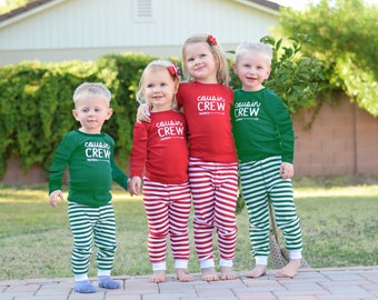 Infant, Toddler and youth Cousin Crew Pajamas. The Original Cousin Crew Pajamas  6 months - Youth 14  - red and green stripes