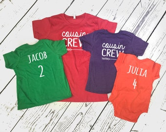 Cousin Crew shirt, Personalized | Name and Birth Order Cousin Crew shirts | Newborn - 3XL | Made to order | Ships in 3-6 Business days