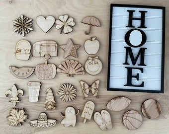 DIY Interchangeable Home sign with  25 unfinsihed shapes and shiplap background   DIY summer craft   DIY home gift   New home gift  