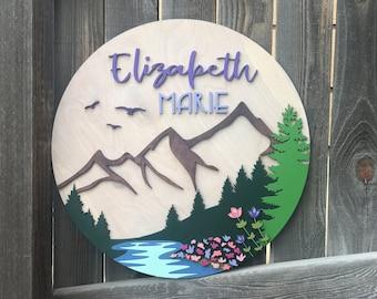 "Mountain Floral Name Sign | Nursery Decor | Modern Mountain Sign | Baby Wall Decor | New baby Gift | Woodland Nursery | 18 - 24"" round"
