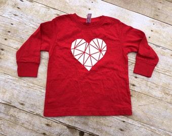 Valentines Day shirt. Be my valentine. Long Sleeve shirt. Heart Shirt. Geometirc heart. Polygon heart shirt.