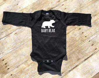 Baby Bear long sleeve shirt or bodysuit Infant toddler and youth sizes Matching Family Pajamas. Christmas pajamas