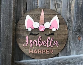 Unicorn Crown Name Plaque | Unicorn Name sign | 18, 20, 22, 24 inch round | Unicorn Sign | Baby Wall Decor | New baby Gift | Girls Nursery