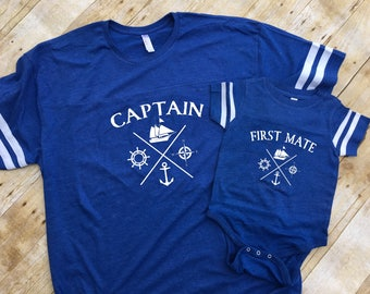 Captain and First Mate shirts. Captain shirt. First Mate shirt. Daddy and me shirts. Fathers Day gift. Matching shirts.