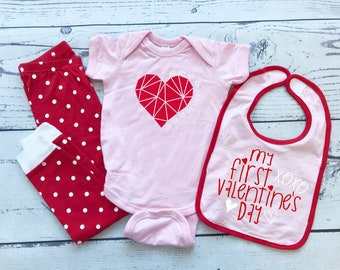 My first Valentine's baby set | Includes bodysuit, pajama pants and baby bib! Valentine baby gift. Baby's first Valentine. Heart XOXO