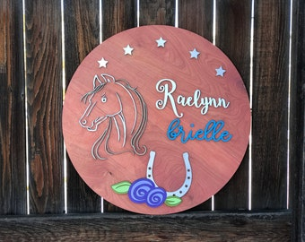 "Horse Wooden Name Plaque | Nursery Decor | Kids Room Decor | New baby Gift | Derby sign 18"" 20"" or 22"" Round"