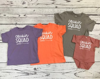 Cousin Squad shirts. Cousin Crew. Cousin Tribe. Ships in 4-6 business days! Family shirt set. All sizes. Cousins Best Friends.