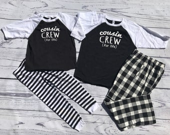 Cousin Crew (for life) Buffalo Plaid Christmas Pajama set.  Newborn to 2XL Black and White. Holiday Pajama sets. Family Reunion Shirts