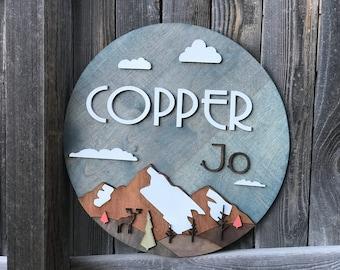 "Mountain Name sign | Nursery Decor | Mountains Sign | Baby Wall Decor | New baby Gift | Woodland Nursery 18"" - 24"" Round"