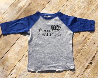 Prince Charming raglan shirt toddler and youth  sizes. Cinderella shirt. Vacation shirt. Boys Cinderella shirt. Prince charming.