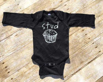 Stud Muffin. Stud Muffin Long sleeve one-piece or shirt. Stud one-piece. cute baby one-pieces. Muffin. Cupcake. Fast shipping! Cutie Pie.
