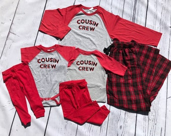Cousin Crew Christmas Plaid Pajama set | 6M to Unisex 2XL | Family Pajama Sets | Holiday Pajama sets | Includes shirt and pants!
