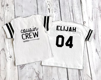 White Cousin Crew team shirt with Name & Number on Back. The original Cousin Crew Personalized shirt. Family reunion shirts. WHite