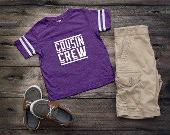 Purple Cousin Crew team shirt with Name & Number on Back. The original Cousin Crew Personalized shirt. Family reunion shirts. Purple