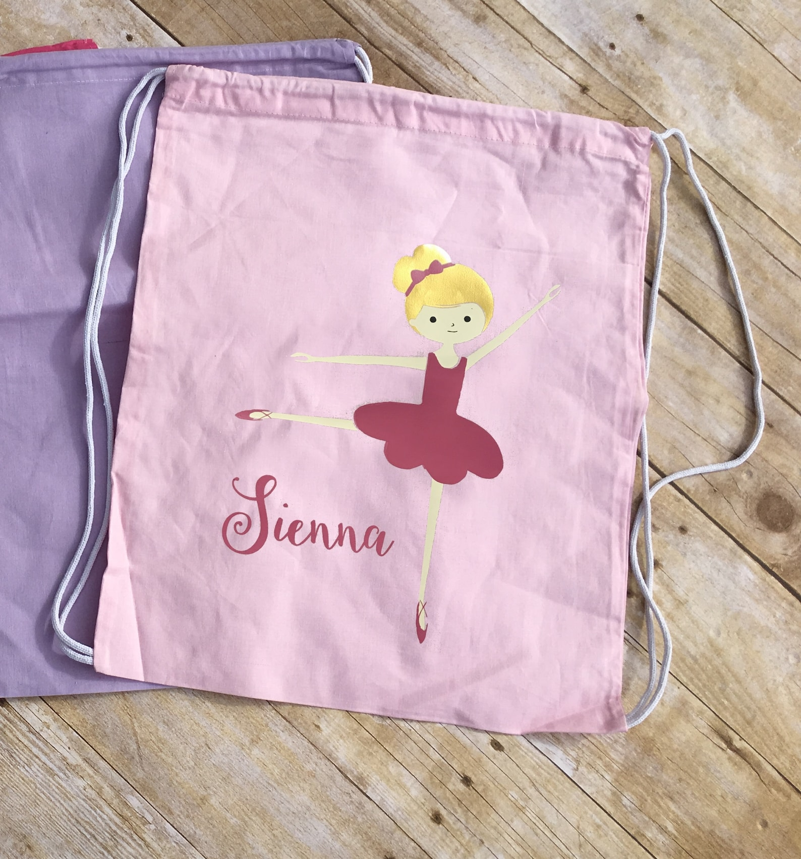 girls dance bag. toddler dance bag personalized ballet bag. drawstring backpack. ballet bag.