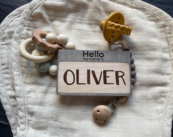 Hello My Name Is Sign   Baby Name Sign   Wooden Baby Name reveal   Newborn Photo Prop   Hospital Announcement   Baby Name announcement