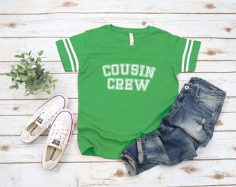 Green Cousin Crew team shirt with Name & Number on Back. The original Cousin Crew Personalized shirt. Family reunion shirts. Green