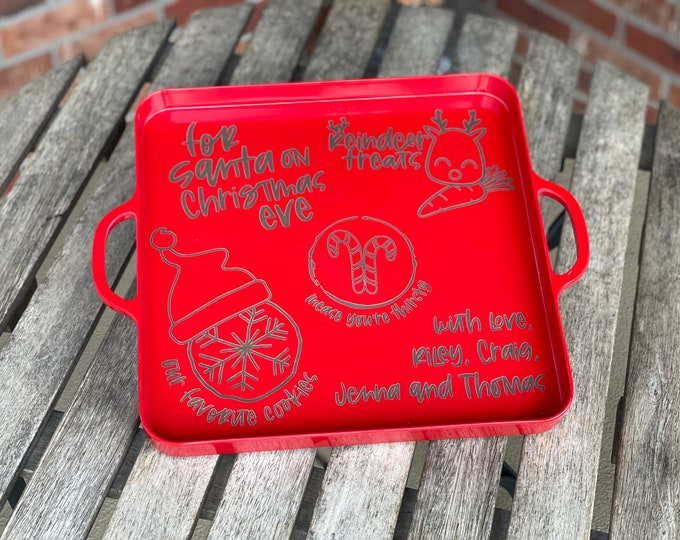 Featured listing image: Personalized Santa Cookie Tray   Christmas Cookie Tray   Christmas Traditions   Christmas serving tray   Santa Tray