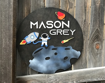 Astronaut and Rocket sign   Boys Room Decor   Outer Space Name Sign   New baby Gift   Boys Nursery Decor   over the Crib Sign
