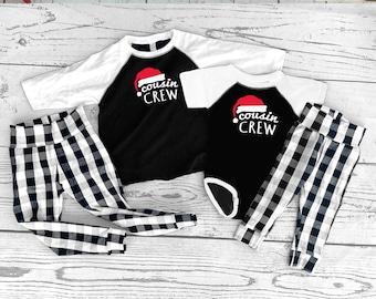 Cousin Crew   Bear Family Christmas Pajamas  NB to Adult 2X   White  Buffalo Plaid  Custom Bear Family Pajamas   Matching Family Pajamas.