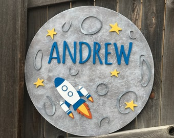 Moon and Rocket sign   Galaxy Room Decor   Outer Space Name Sign   New baby Gift    celestial nursery   outer space nursery  round name sign