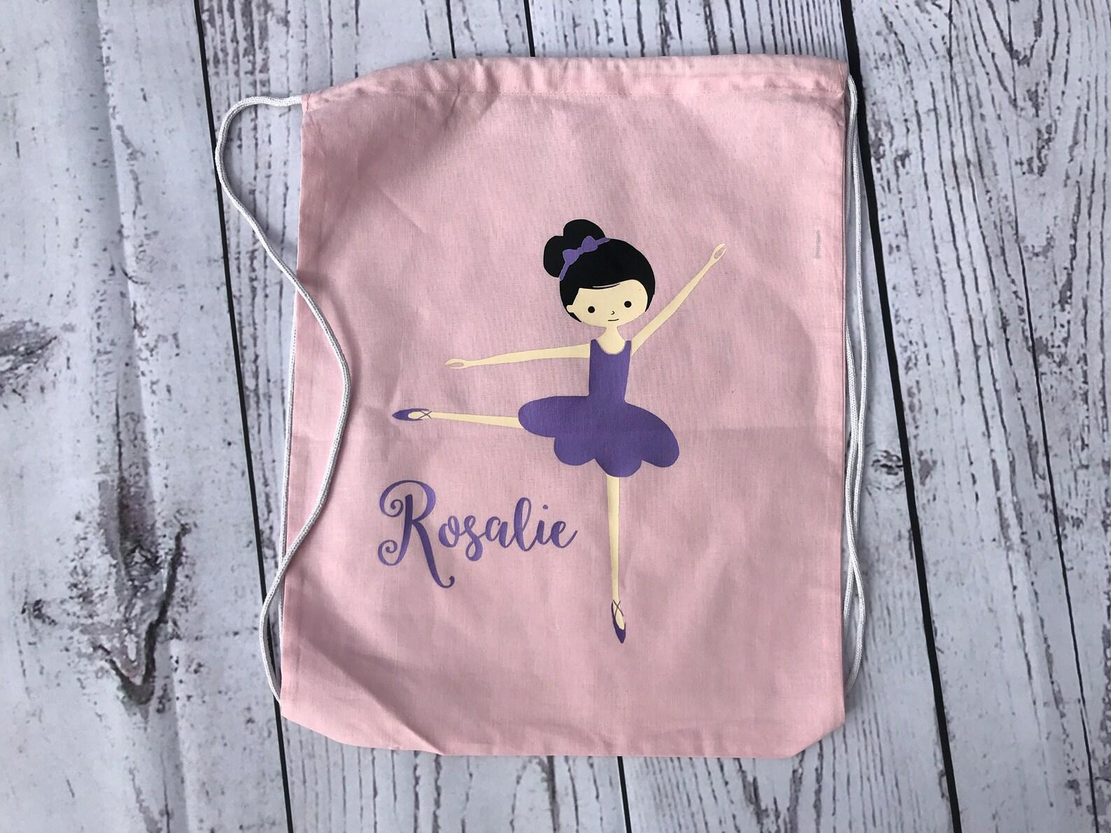 girls dance bag. toddler dance bag personalized ballet bag. drawstring backpack. ballet bag. black hair purple tutu
