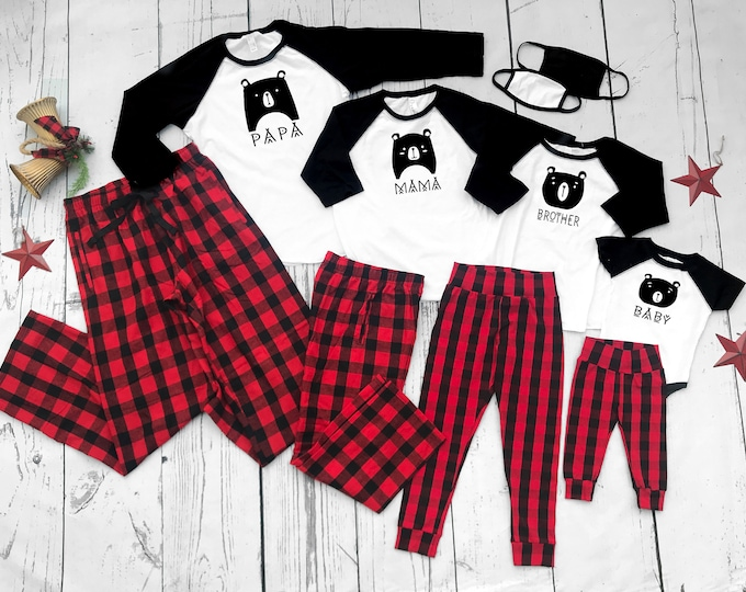 Featured listing image: Bear Family Buffalo Plaid Christmas Pajama set. Newborn to Unisex 2XL. Black, White and Buffalo Plaid.  Matching Family Holiday Pajama set