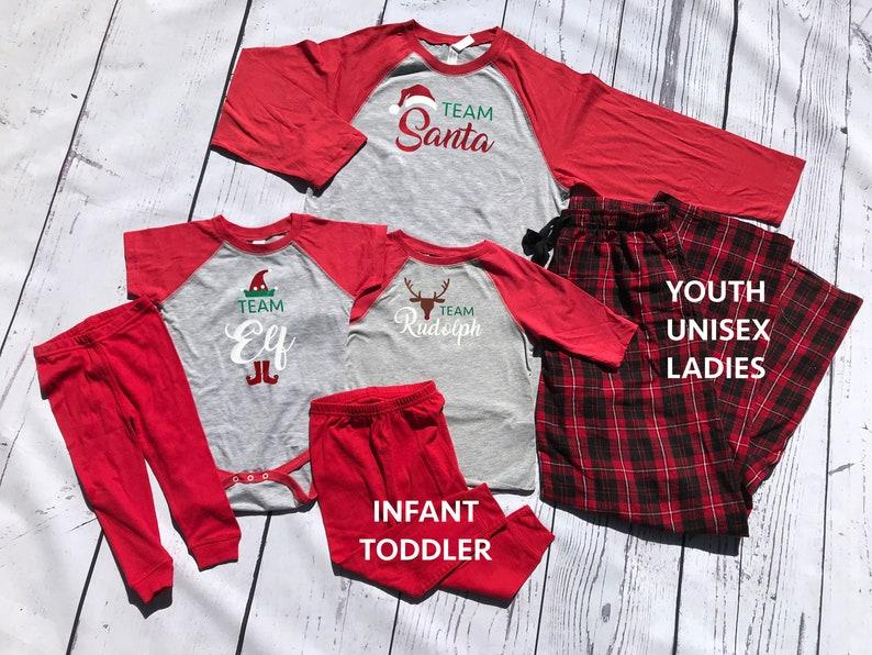 451e79d2088f Team Holiday Christmas Pajamas. Team Santa Rudolph or Elf.