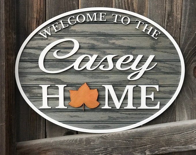 """Featured listing image: Interchangeable Personalized welcome sign   welcome to our home 15"""" by 20""""   Housewarming gift   personalized christmas gift   New home gift"""