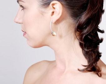 Silver Pearl Hoop Earrings, Modern Hoops, Pink Freshwater Pearl Earrings, Holiday Gift