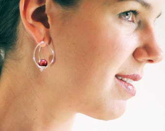Silver Cage Earrings, Freshwater Pearl Earrings, Red Earrings with Silver, Unusual Silver Earrings