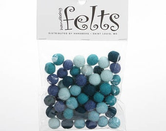 Wool felt balls Aquamarine collection 1 cm