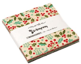 Berry Merry Charm Pack by Basic Grey for Moda   YES!! Continuous fabric cuts, combined shipping & refund overages