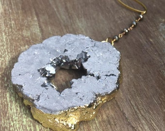 Silver Titanium Druzy Pyrite Necklace, Pyrite Rosary Druzy Necklace, Silver Druzy Pyrite Rosary Necklace, Natural Pyrite Rosary Necklace