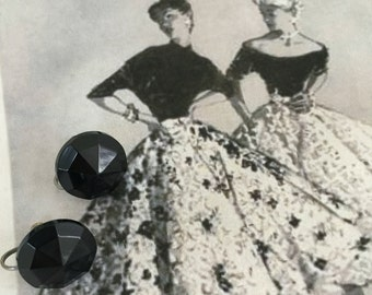 1950's Black Round Faceted Screw Back Earrings