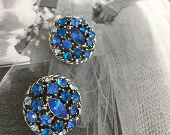 Vintage Sapphire Rhinestone Cluster Clip On Earrings/Shoe Clips