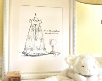 Custom Baptism Gown/Outfit Illustration