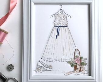 Flower Girl Dress Illustration