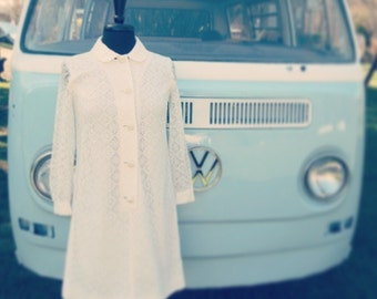 Vintage 1960's Geometric Lace Shift Mini Dress