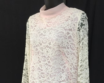 Vintage 1960's Ivory Lace and Pleated Mini Dress
