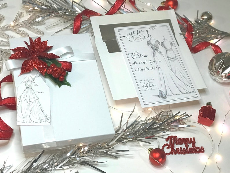 Gown Only GIFT CARD for 1 Custom Bridal Gown Hand-Drawn image 0