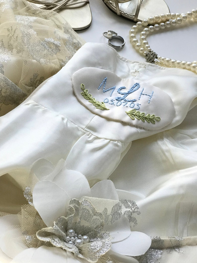 Hand Embroidered Monogrammed Bridal Gown Label image 0