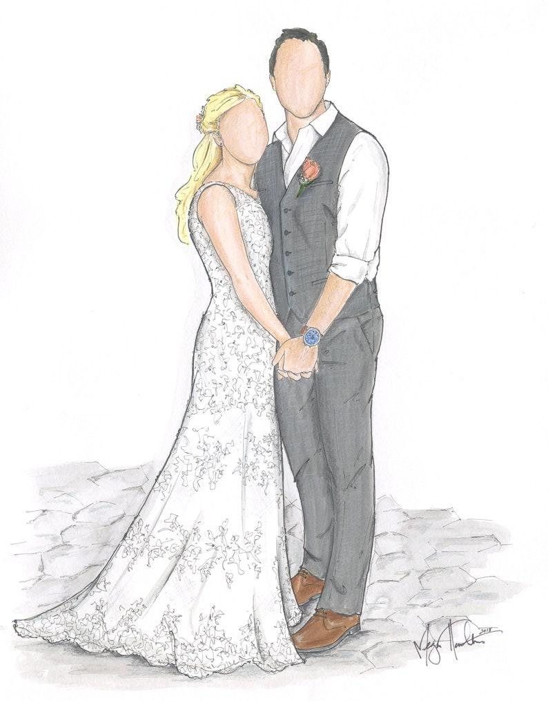 Custom Bride & Groom Full Body Likeness Illustration image 0