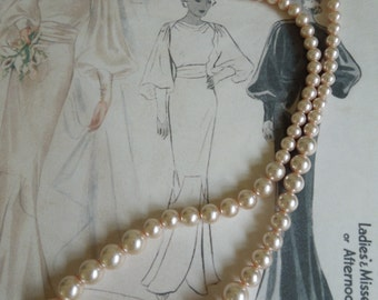 1980's-90's Long Faux Pearl Necklace