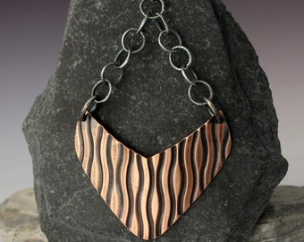 Mixed Metal Earrings- Ripples- Embossed Copper and Sterling Silver