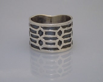 Sterling Silver Hexagons And Lines Ring (Size 7.5)