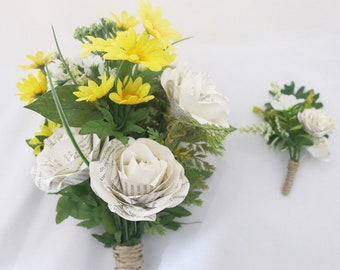 Book Flowers - Ready to ship - Will and Mia Book Bouquet and Boutonnière Spring Floral Set